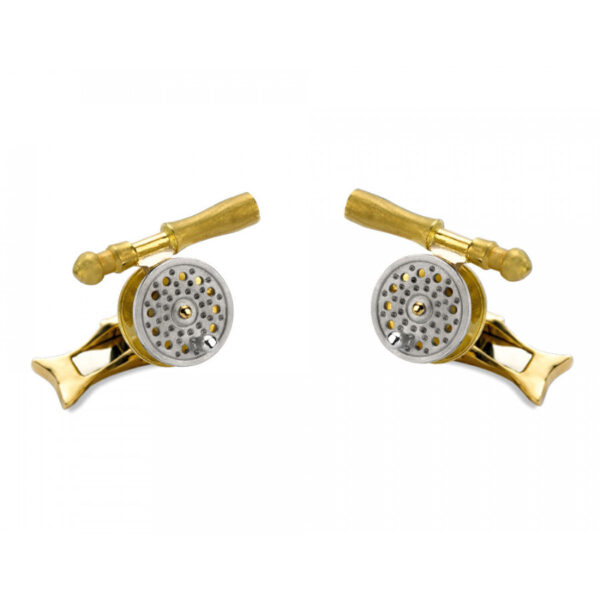18ct Gold Rotating Fishing Reel Cufflinks
