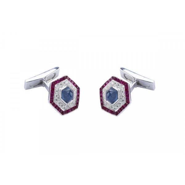 18ct White Gold Hexagonal Cufflinks with Ruby, Sapphire and Diamond