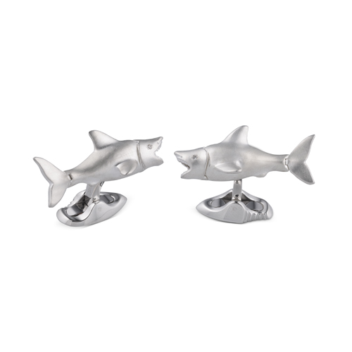 Sterling Silver Shark Cufflinks