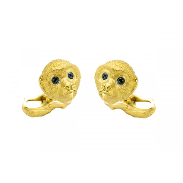 18ct Gold Monkey Cufflinks with Sapphire Eyes