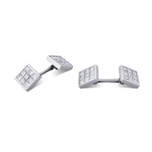 18ct White Gold Pavé Set Diamond Cufflinks
