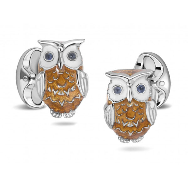 Sterling Silver Brown Owl Cufflinks with Sapphire Eyes