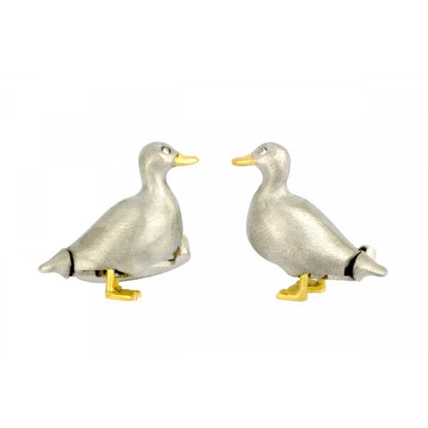 18ct Yellow & White Gold Duck Cufflinks