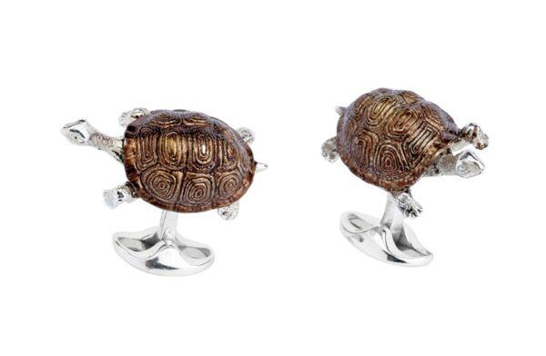 Sterling Silver Brown Enamel Tortoise Cufflinks