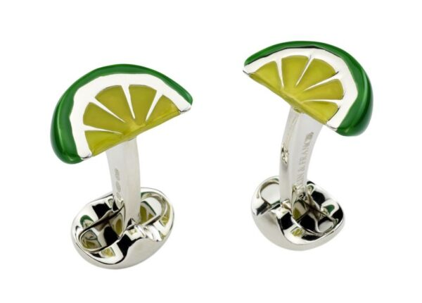 Sterling Silver Enamel Lime Wedge Cufflinks