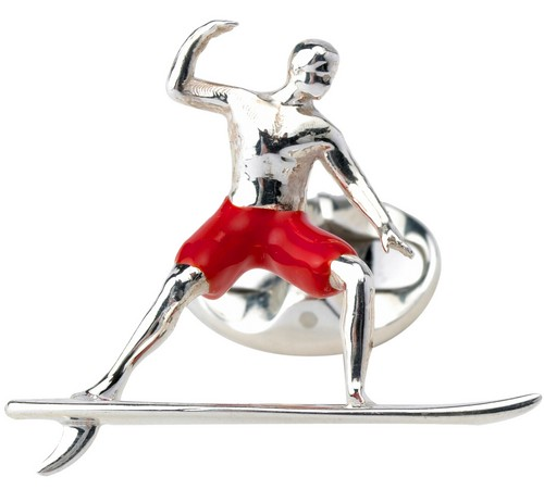 Sterling Silver Surfer Cufflinks With Red Enamel Shorts