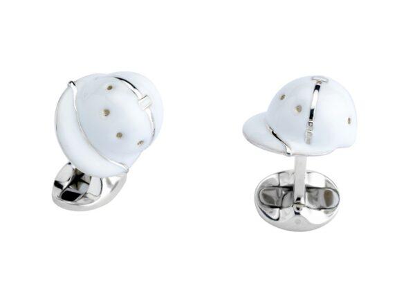 Sterling Silver White Enamel Polo Helmet Cufflinks
