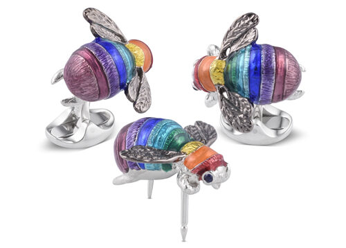Limited Edition Sterling Silver Rainbow Bumble Bee Lapel Pin