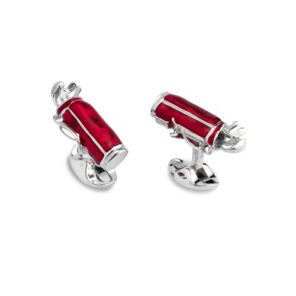 Sterling Silver Red Enamel Golf Bag Cufflinks