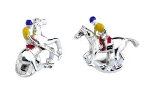 Sterling Silver Polo Rider & Pony Enamel Cufflinks