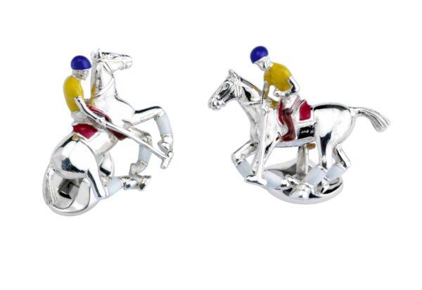 Sterling Silver Polo Rider & Pony Enamel Cufflinks