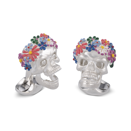Sterling Silver Flower Headband Skull Cufflinks