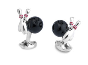 Sterling Silver Bowling Ball And Skittles Cufflinks
