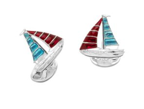 Sterling Silver Blue And Red Enamel Yacht Cufflinks