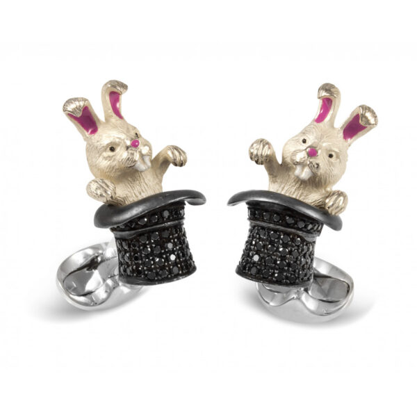 Sterling Silver Black Spinel Rabbit in Hat Cufflinks