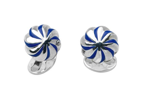 Sterling Silver Blue Enamel Pumpkin Knot Cufflinks