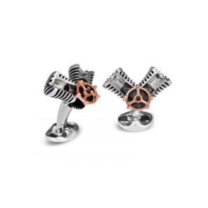 Sterling Silver Piston Cufflinks