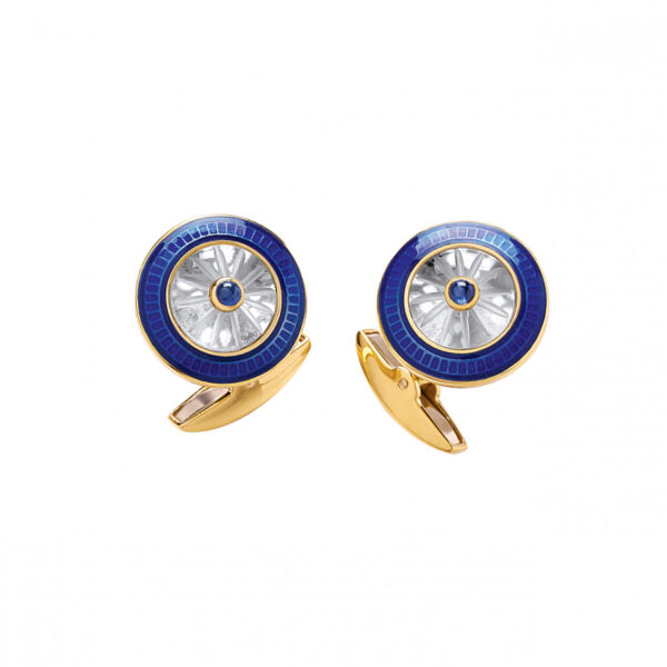 18ct Gold Round Crystal Cufflinks with Sapphire Centre