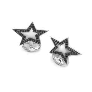 Sterling Silver Star Cufflinks With Spinel Boarder