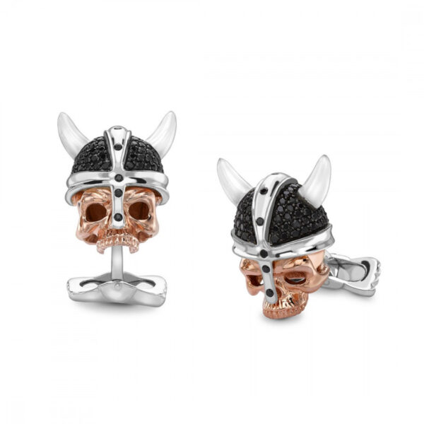 Sterling Silver Rose Gold Viking Skull Cufflinks