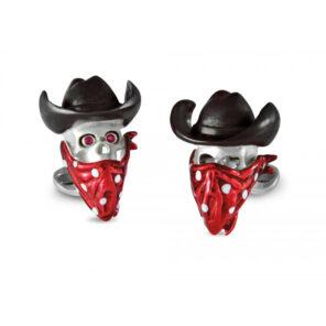 Sterling Silver Cowboy Skull Cufflinks