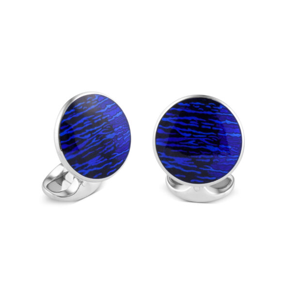 Sterling Silver Deep Blue And Black Cufflinks