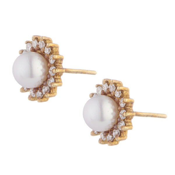 18ct Gold Diamond and Cultured Pearl Cluster Earrings