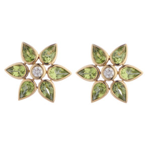 18ct Yellow Gold Peridot and Diamond Large Cluster Earrings