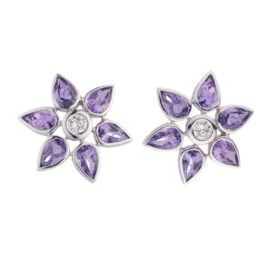 18ct White Gold Amethyst and Diamond Cluster Earrings