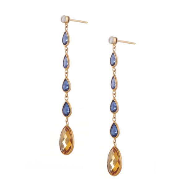 18ct Yellow Gold Diamond, Sapphire and Citrine Drop Earrings