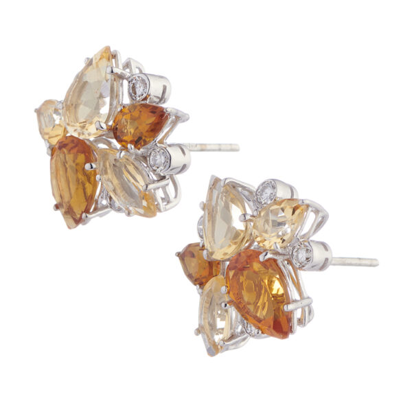 18ct White Gold Light and Dark Citrine Earrings With Diamonds