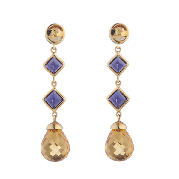 18ct Yellow Gold Citrine And Iolite Drop Earrings