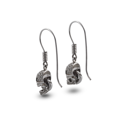 18ct White Gold Pave Set Diamond Skull Earrings With Ruby Eyes