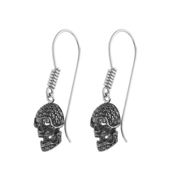 18ct White Gold Pave Set Black Diamond Skull Earrings With Diamond Eyes