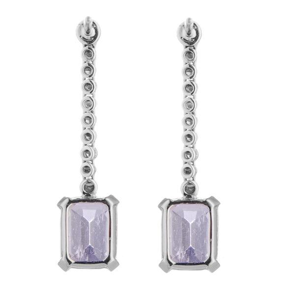 18ct White Gold Diamond and Pink Kunzite Drop Earrings