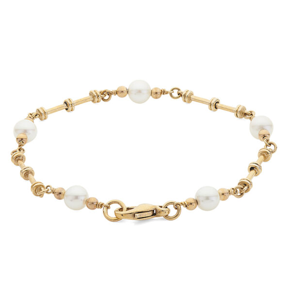 9ct Gold Cultured Pearl Dumbbell Link Bracelet