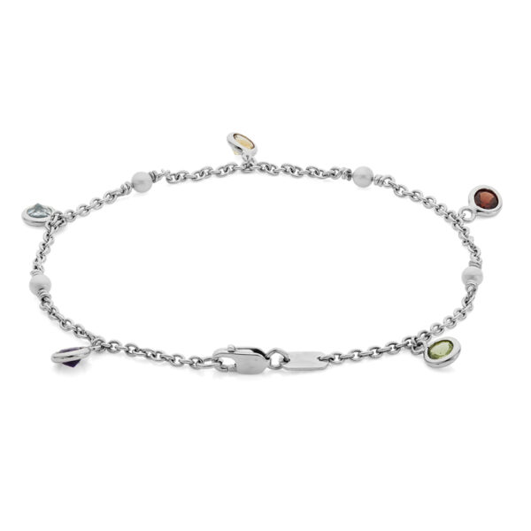18ct White Gold Multi Gemstone and Cultured Pearl Bracelet