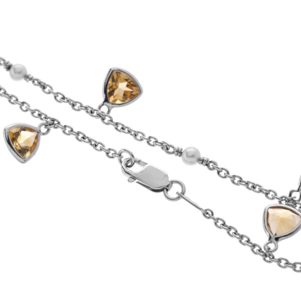18ct White Gold Pink Morganite, Citrine and Cultured Pearl Bracelet