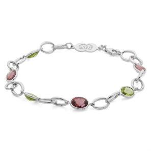 18ct White Gold Pink Tourmaline and Peridot Bracelet