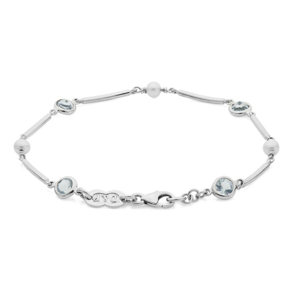 18ct White Gold Cultured Pearl and Aquamarine Bracelet