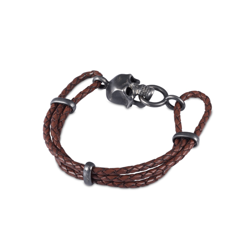 Brown Leather Adjustable Bracelet With Skull Clasp In Matte Black Finish