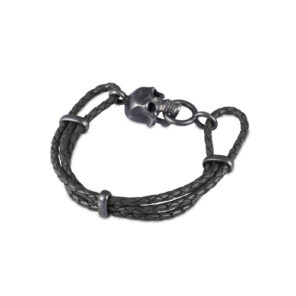 Black Leather Adjustable Bracelet With Skull Clasp In Matte Black Finish