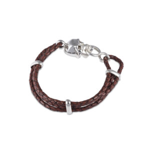 Brown Leather Adjustable Bracelet With Skull Clasp In Silver Finish
