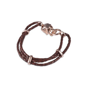 Brown Leather Adjustable Bracelet With Skull Clasp in Rose Gold Finish