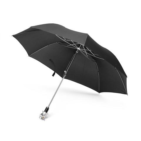 Small Black Umbrella With Pheasant Head Handle In Silver Finish
