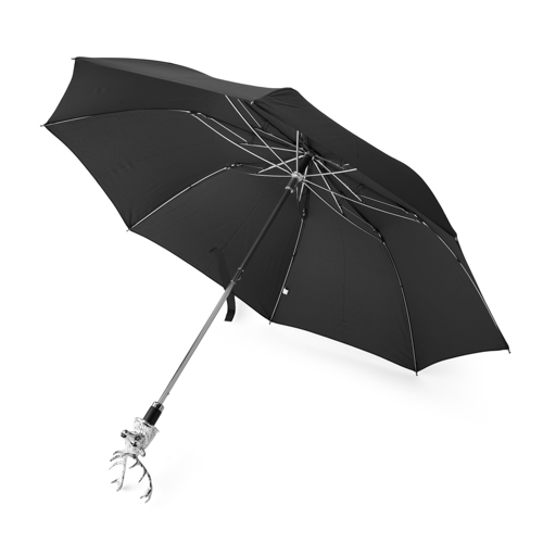 Small Black Umbrella With Stag Head Handle In Silver Finish