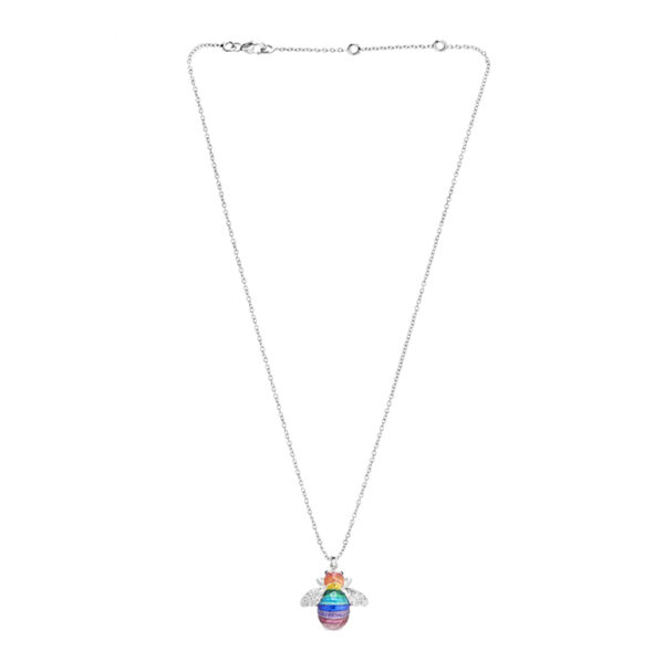Sterling Silver Rainbow Bumble Bee Pendant