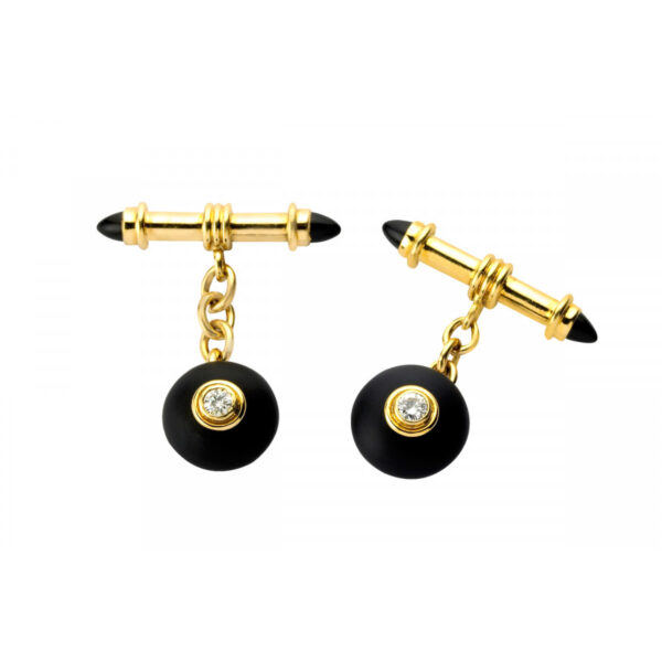 18ct Yellow Gold Onyx and Diamond Bouton Cufflinks