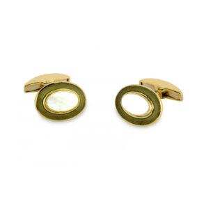 18ct Yellow Gold Oval Cufflinks with Mother-of-Pearl & Grey Border
