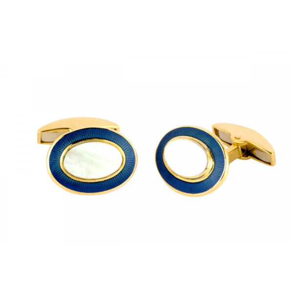 18ct Gold Oval Cufflinks with Mother-of-Pearl & Royal Blue Border